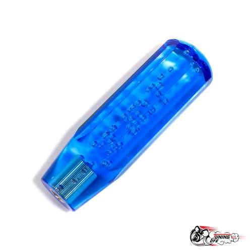 Насадка на ручку КПП в стиле JDM 15 см,граненая (синяя)