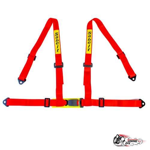 Ремень безопасности Sabelt 4-х точечный стандартный крепеж (красный)