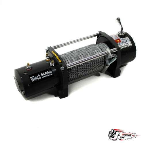 Лебедка электрическая 12V Electric Winch 9500 LBS / 4310 кг со стальным тросом