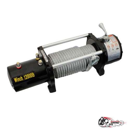 Лебедка электрическая Electric Winch 12000lbs/ 5443 кг 12V со стальным тросом